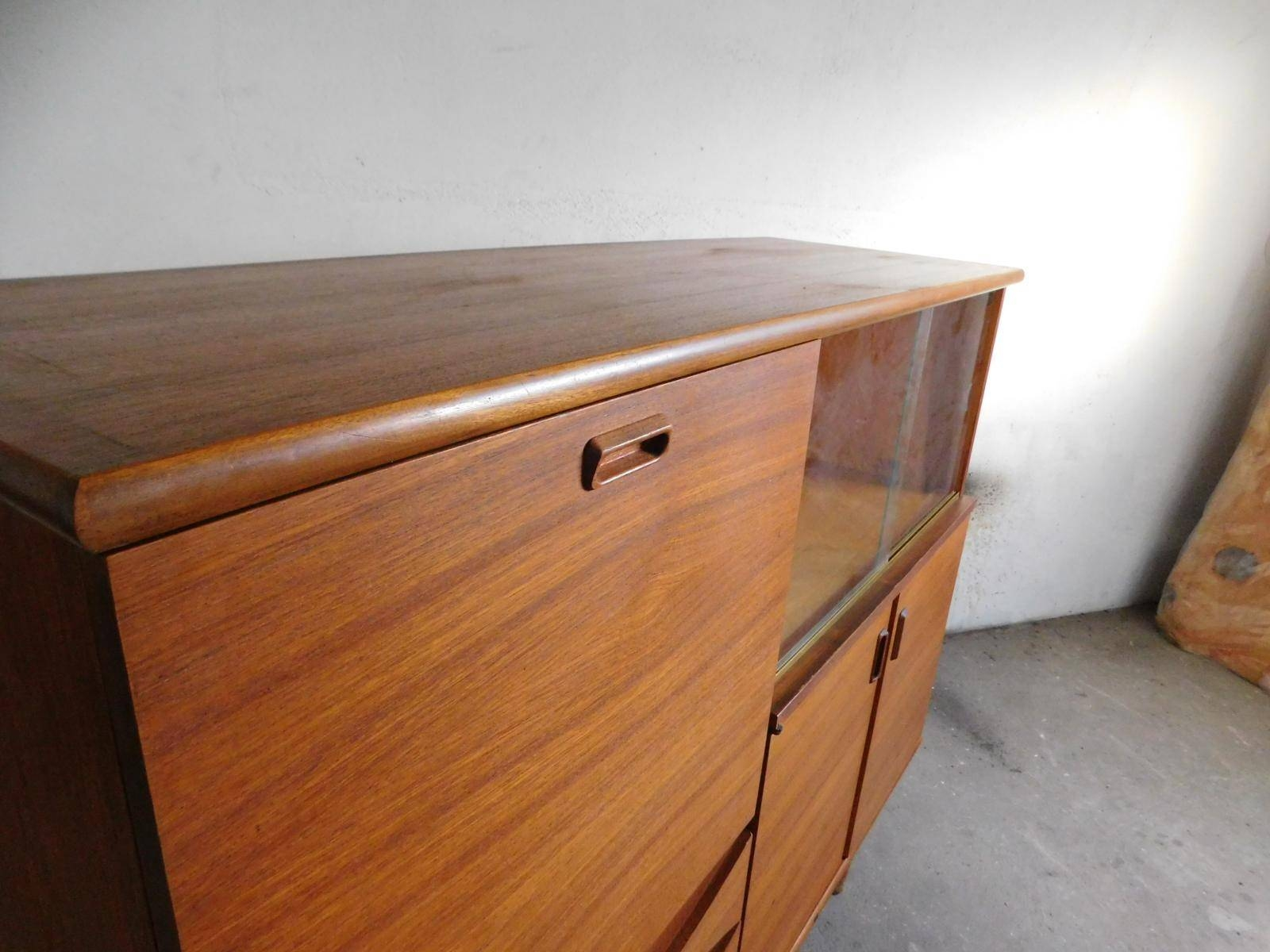 Large Teak Sideboard With Sliding Glass Doors, 1960S For Sale At Intended For 2018 Sideboards With Glass Doors And Drawers (#4 of 15)
