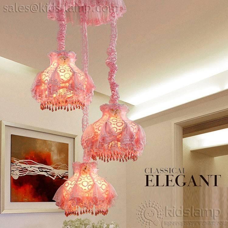 Lovely 3 Lights Girls Room Fabric Pendant Lights | Kids Lamp For Newest Kids Room Pendant Lights (#11 of 15)