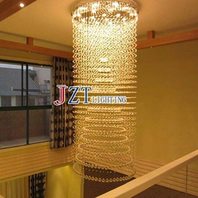 M Led Lamps Long Crystal Pendant Lights Large Stairway Led Hanging For Newest Long Hanging Pendant Lights (#9 of 15)