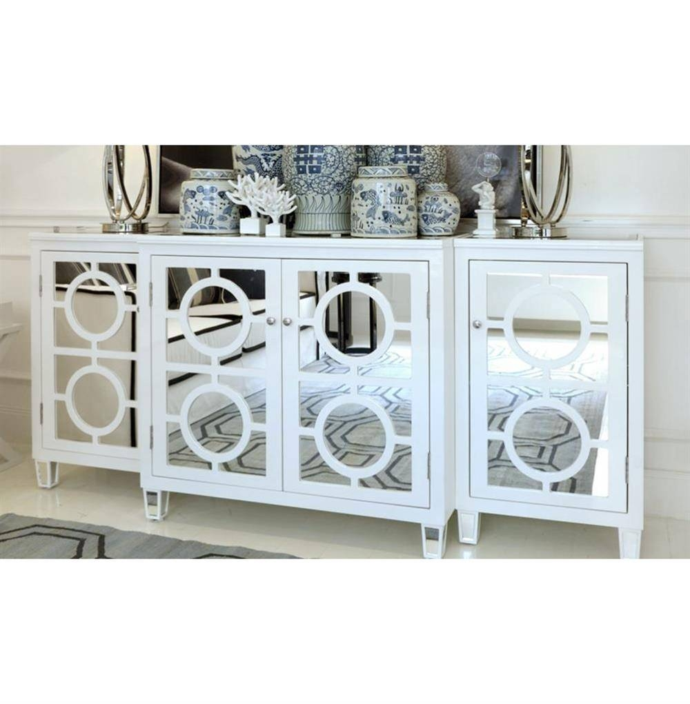 Malta Global Bazaar White Lacquer Mirror Buffet Sideboard | Kathy Intended For Newest Mirror Sideboards (View 9 of 15)