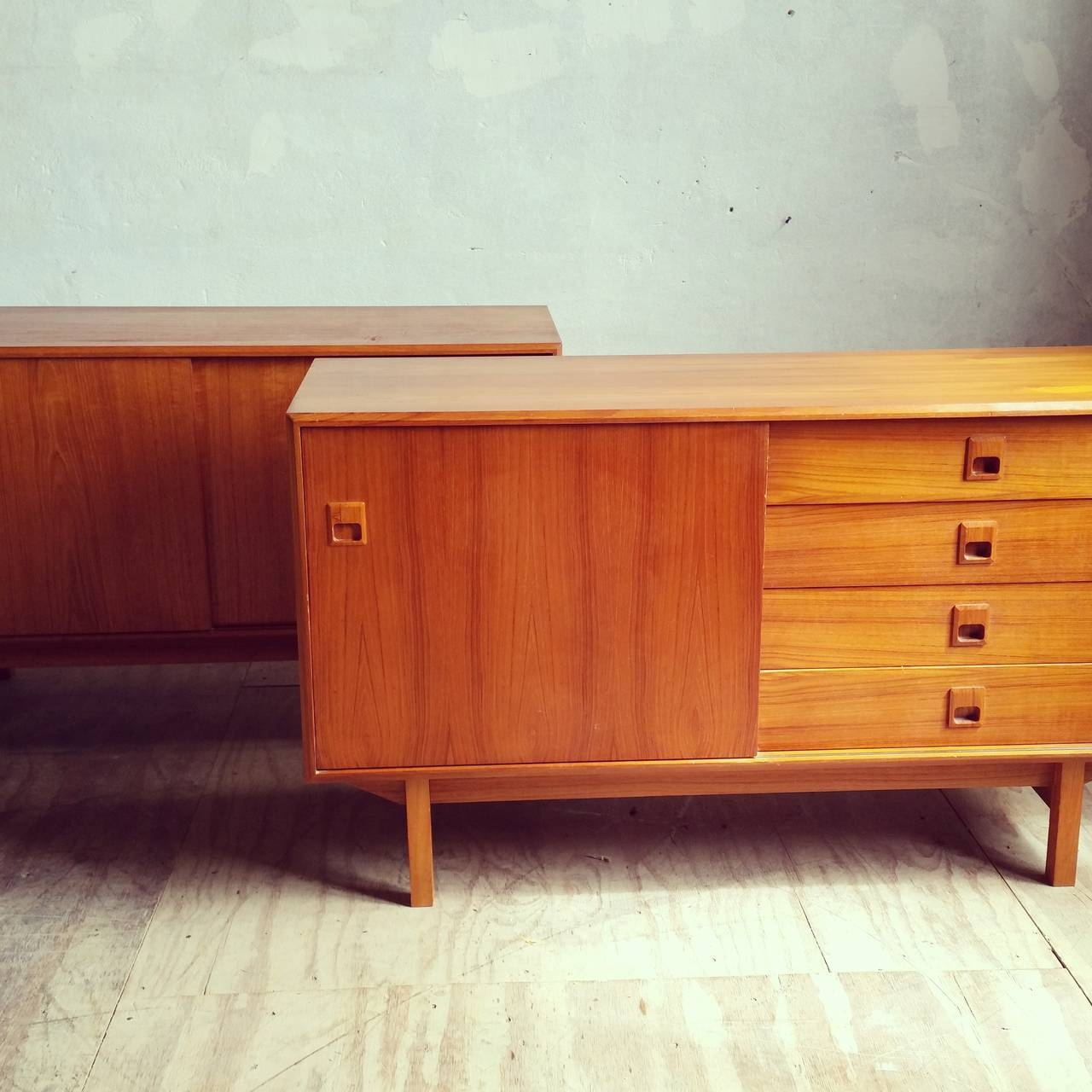 Matched Pair Of Danish Modern Teak Wood Credenzas Or Sideboards At With Most Recently Released Credenzas And Sideboards (View 14 of 15)