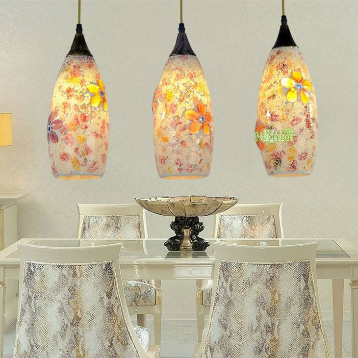 Mediterranean Sea Glass Flower Pendant Light Suspension Hanging In Newest Sea Glass Pendant Lights (#9 of 15)