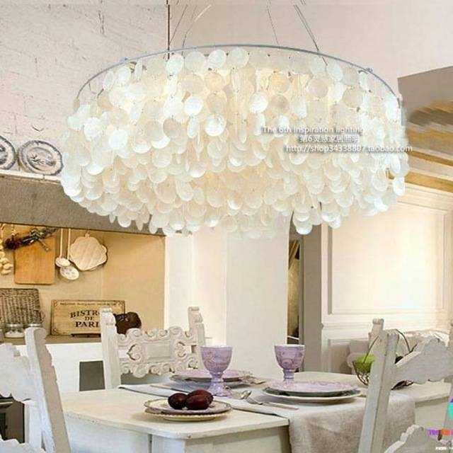Mediterranean Style Shell Light Led Pendientes Garden Home Round Inside Current Shell Pendant Lights (#6 of 15)