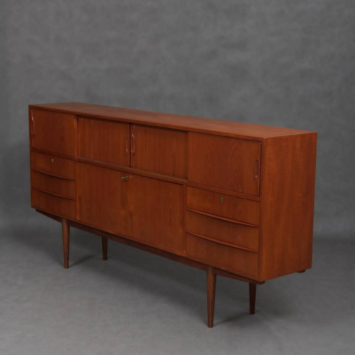 Mid Century Danish Sideboard With Illuminated Bar Cabinet, 1960S Regarding Recent Sideboard Bar Cabinet (#8 of 15)