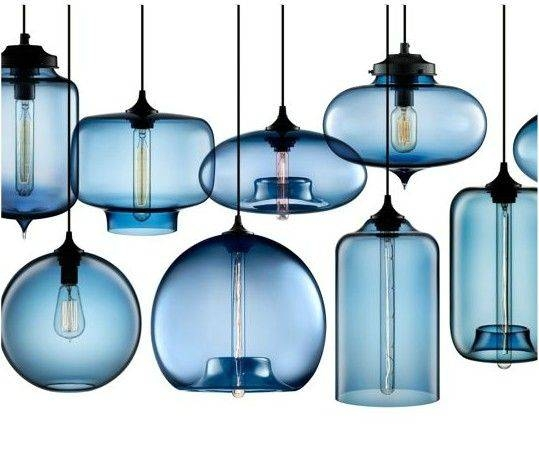 Minimalist Blue Glass Pendant Lights Dining Room | The Gather Within Newest Blue Glass Pendant Lighting (#10 of 15)