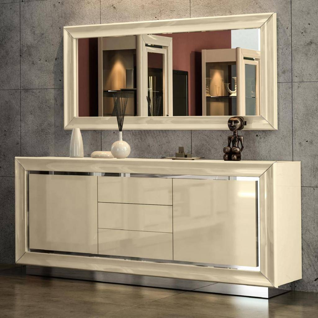Minton Ivory High Gloss 2 Door Sideboard With 3 Drawers : F D With Newest Gloss Sideboards (#7 of 15)