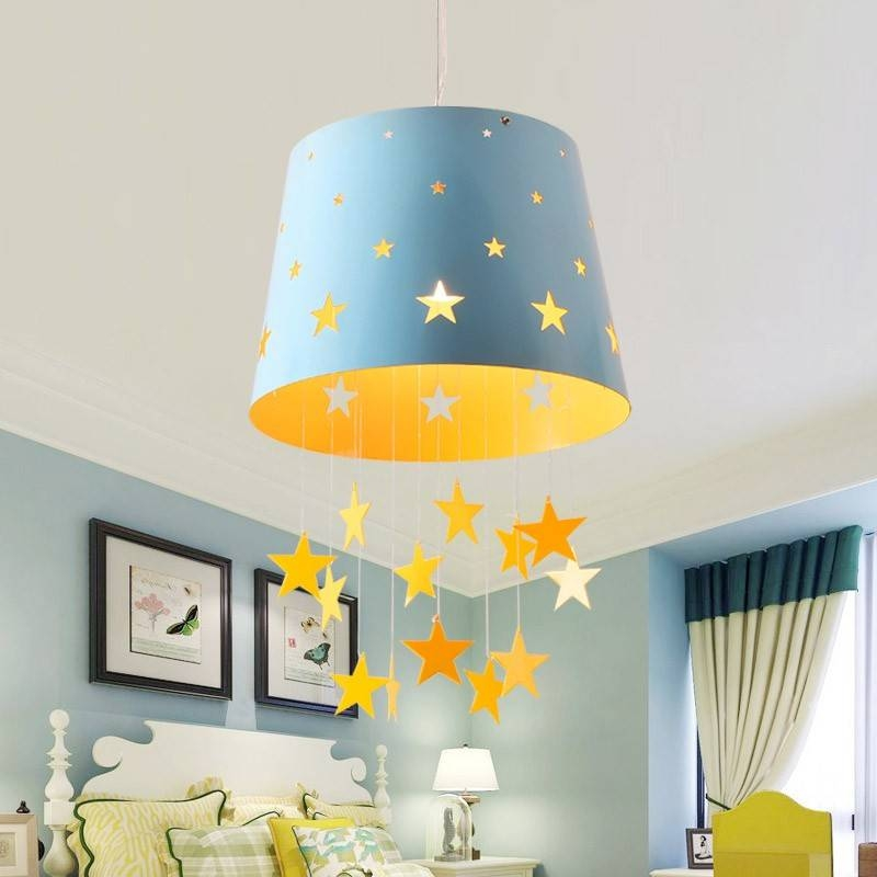 Modern 1 Light Adorable Pierced Star Blue/pink Hanging Drum Shade With Most Popular Kids Room Pendant Lights (#12 of 15)