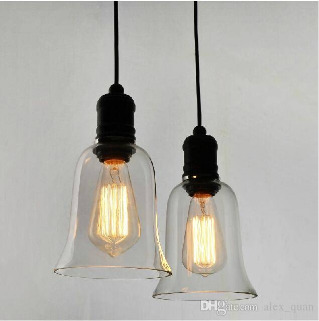 Modern Crystal Bell Glass Pendant Lights Industrial Style Pendant Within Most Popular Edison Bulb Pendant Lights (#7 of 15)