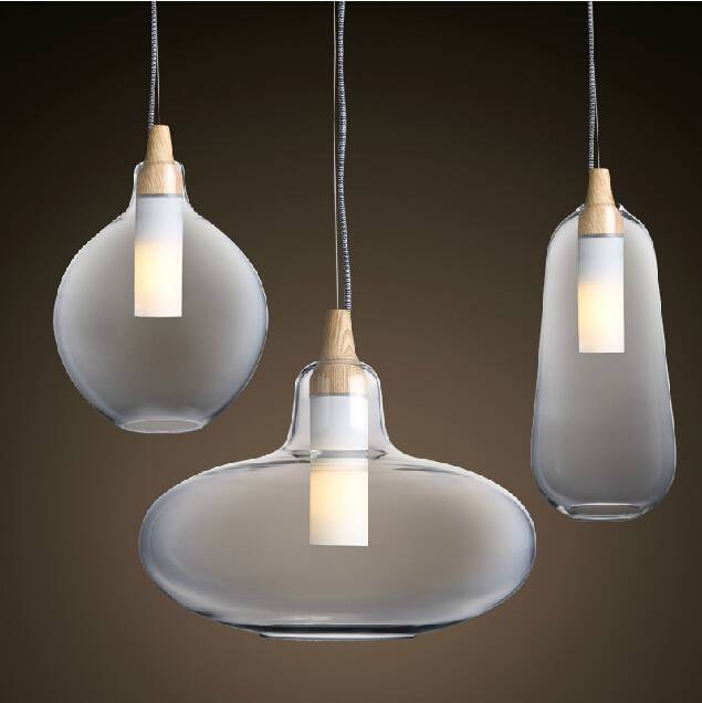 Modern Glass Pendant Light Natural Curved Transparent Pendant Lamp With Most Popular Glass Pendant Lighting Fixtures (#12 of 15)