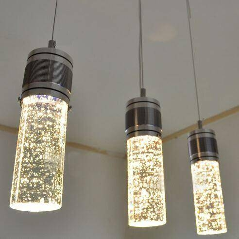 Modern Led Bubble Column Crystal Hanging Lamp Three Lamps Within Latest Glass Bubble Pendant Lights (#10 of 15)