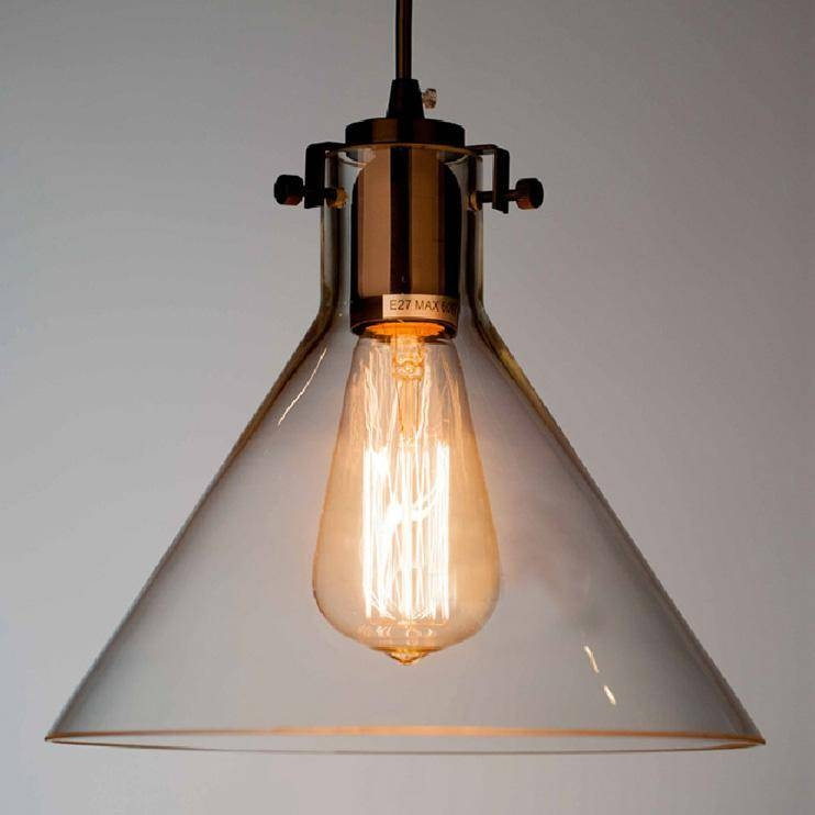 Modern Meridian Transparent Glass Chandelier Edison Light Bulb For Recent Glass Pendant Lights With Edison Bulbs (#6 of 15)
