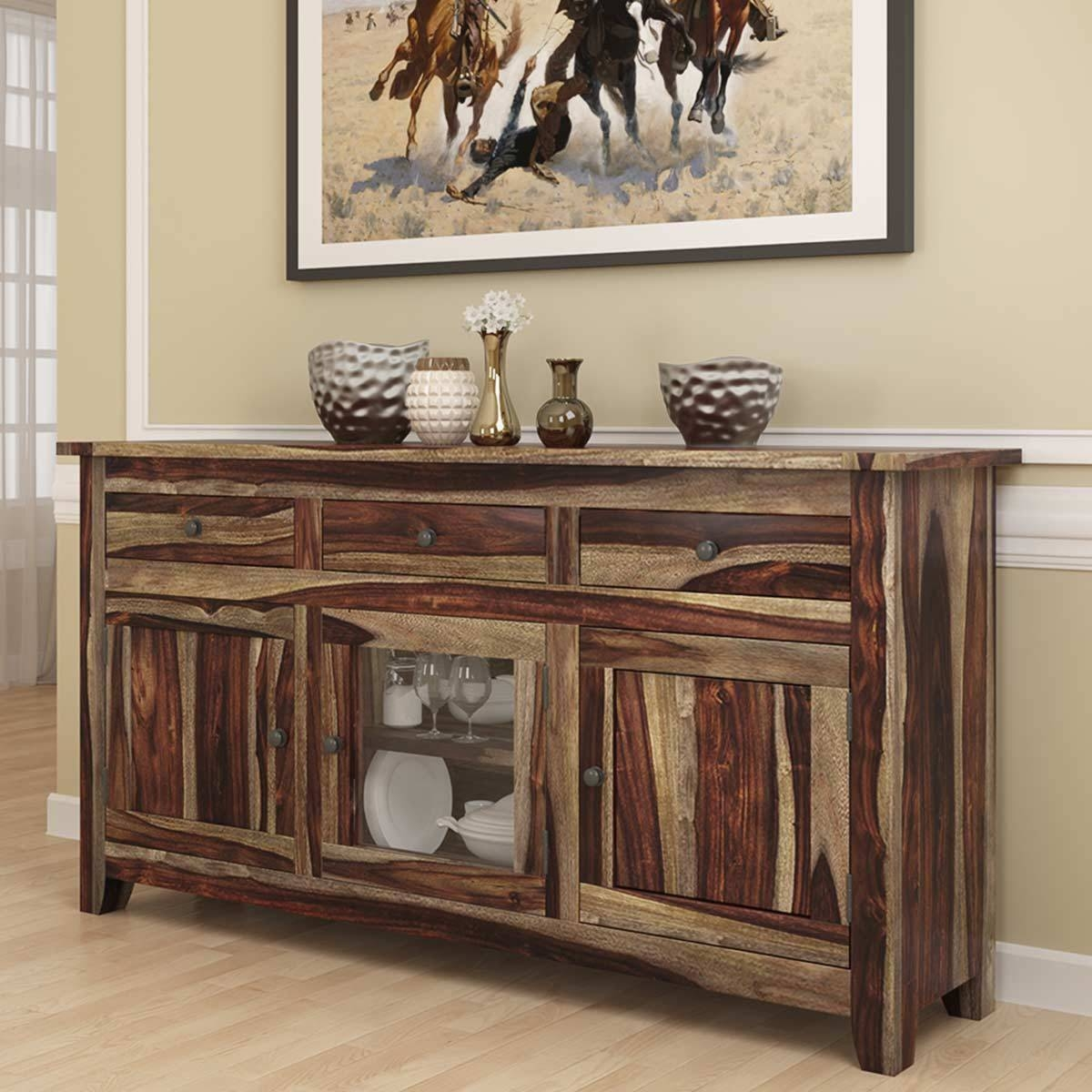 Modern Rustic Solid Wood Glass Door 3 Drawer Sideboard Cabinet Throughout Current Sideboards With Glass Doors And Drawers (#5 of 15)