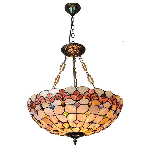 Modern Tiffany Style 5 Lights Inverted Pendant Lamp Vintage Throughout Current Inverted Pendant Lighting (#7 of 15)