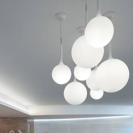 Modern White Golf Balls Single Droplight Nordic Round Glass Pertaining To Newest Round Glass Pendant Lights (#8 of 15)