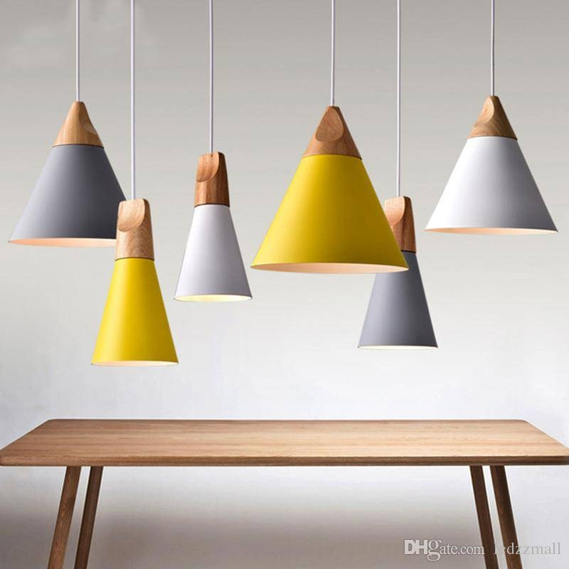 Modern Wood Pendant Lights Lamparas Colorful Aluminum Lamp Shade With Current Wooden Pendant Lighting (#9 of 15)