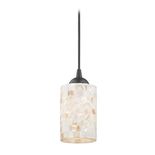 Mosaic Mini Pendant Light With Cylinder Glass In Black Finish Pertaining To 2018 Black Mini Pendant Lights (#12 of 15)