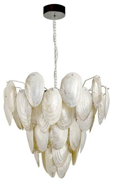 Mother Of Pearl Shell Pendant Lamp – Beach Style – Pendant Intended For Current Shell Pendant Lights (#8 of 15)