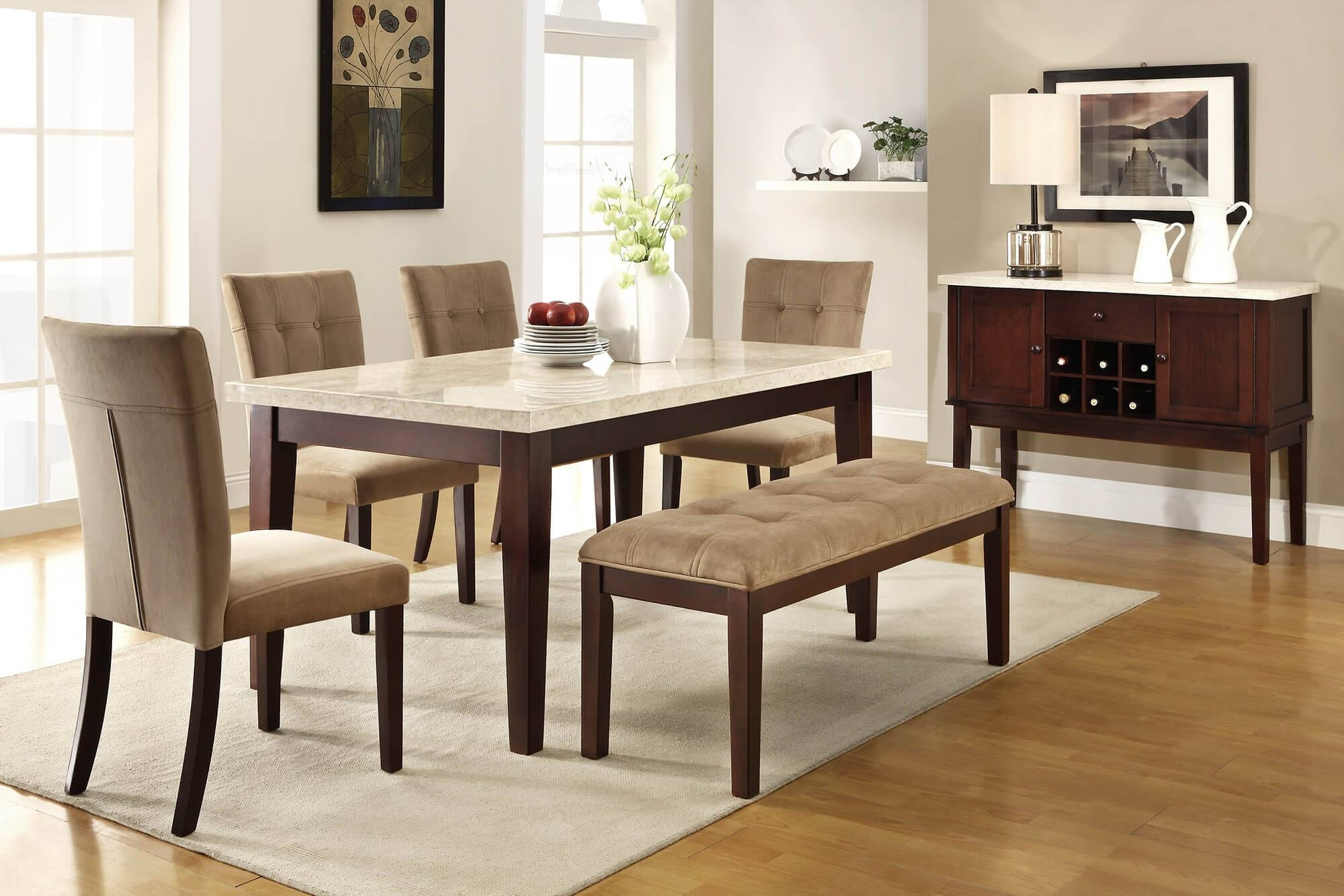 Nice Dining Room Filled Wooden Sideboard And Marble Top Table With For Most Recently Released Dining Room Sets With Sideboards (#11 of 15)