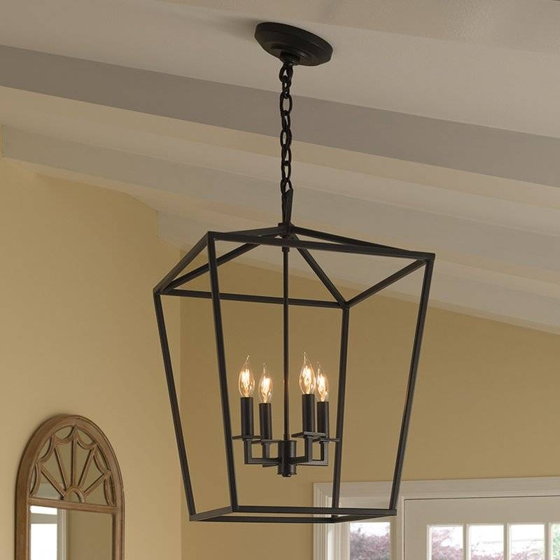 Norwell Lighting Cage 4 Light Foyer Pendant & Reviews | Wayfair Regarding Most Up To Date Foyer Pendant Light Fixtures (View 10 of 15)
