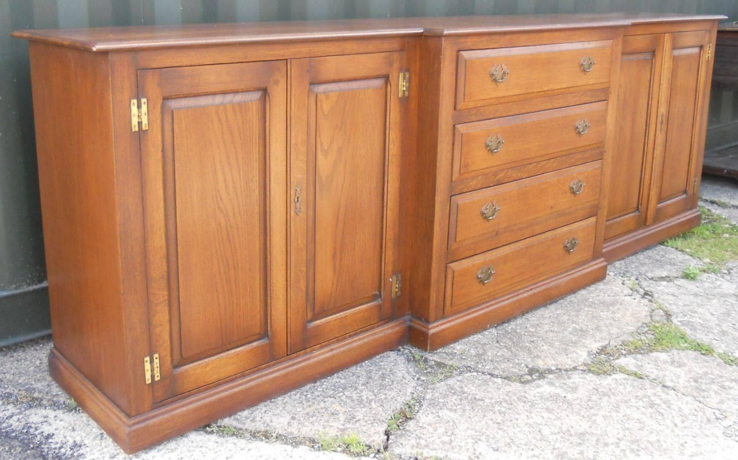 Oak Breakfront Dresser Sideboard Base In Latest Extra Large Oak Sideboards (View 7 of 15)