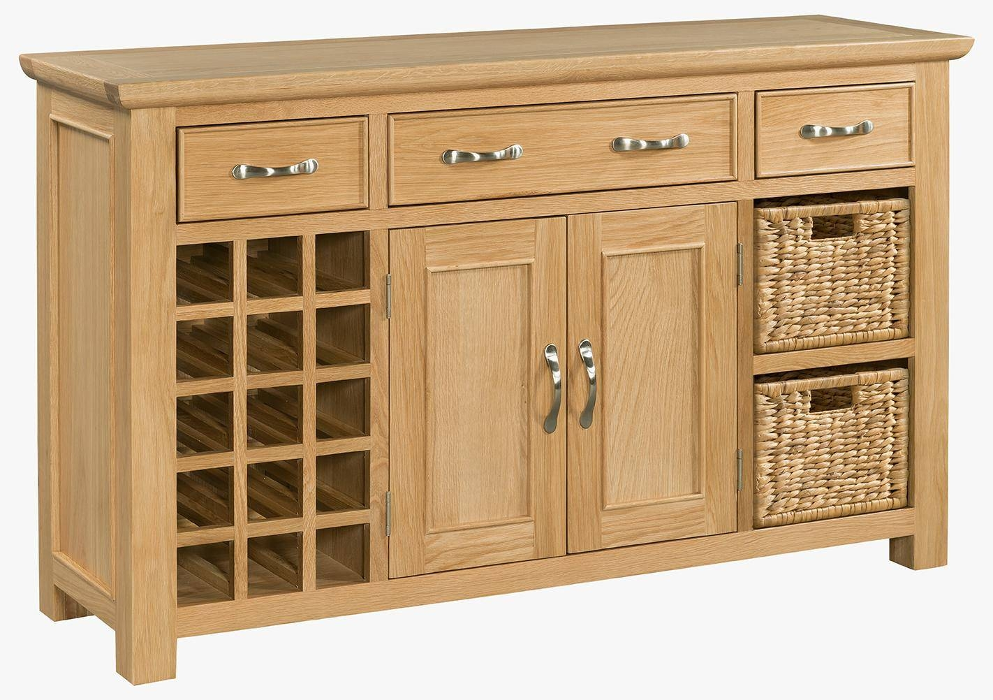 Oak Large Sideboard With Wine Rack (Sie054) – Solid Wood & Painted Throughout Most Recent Sideboards With Wine Rack (#8 of 15)