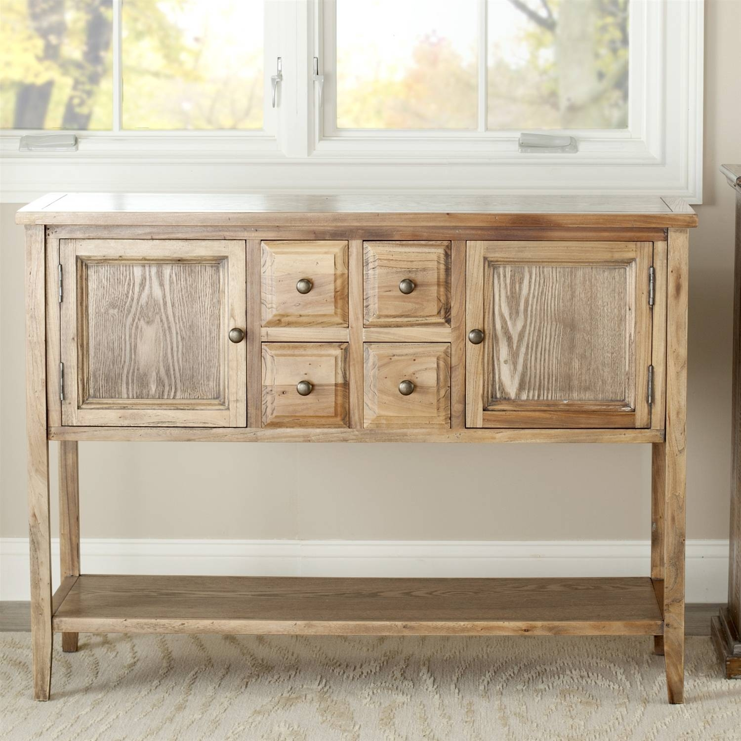 Oak Wood Finish Dining Room Sideboard Buffet Console Table Cabinet Pertaining To 2018 Buffet Console Sideboards (#12 of 15)