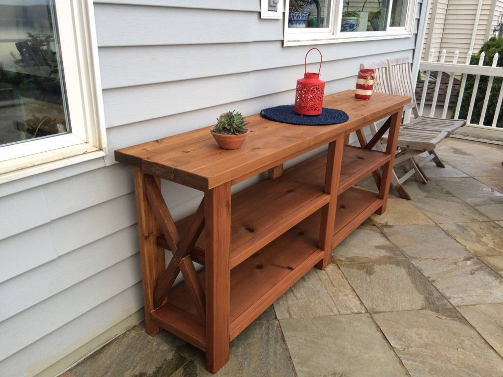 Outdoor Rustic Espresso Brown Finish Eucalyptus Wood Buffet Server In Most Up To Date Outdoor Sideboard Cabinets (#8 of 15)