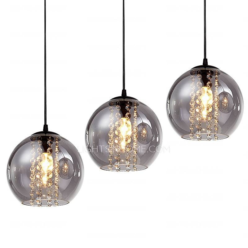 Overstock 3 Light Grey Glass Shade Pendant Light For Kitchen Inside Most Recently Released Pendant Light Shades (#8 of 15)