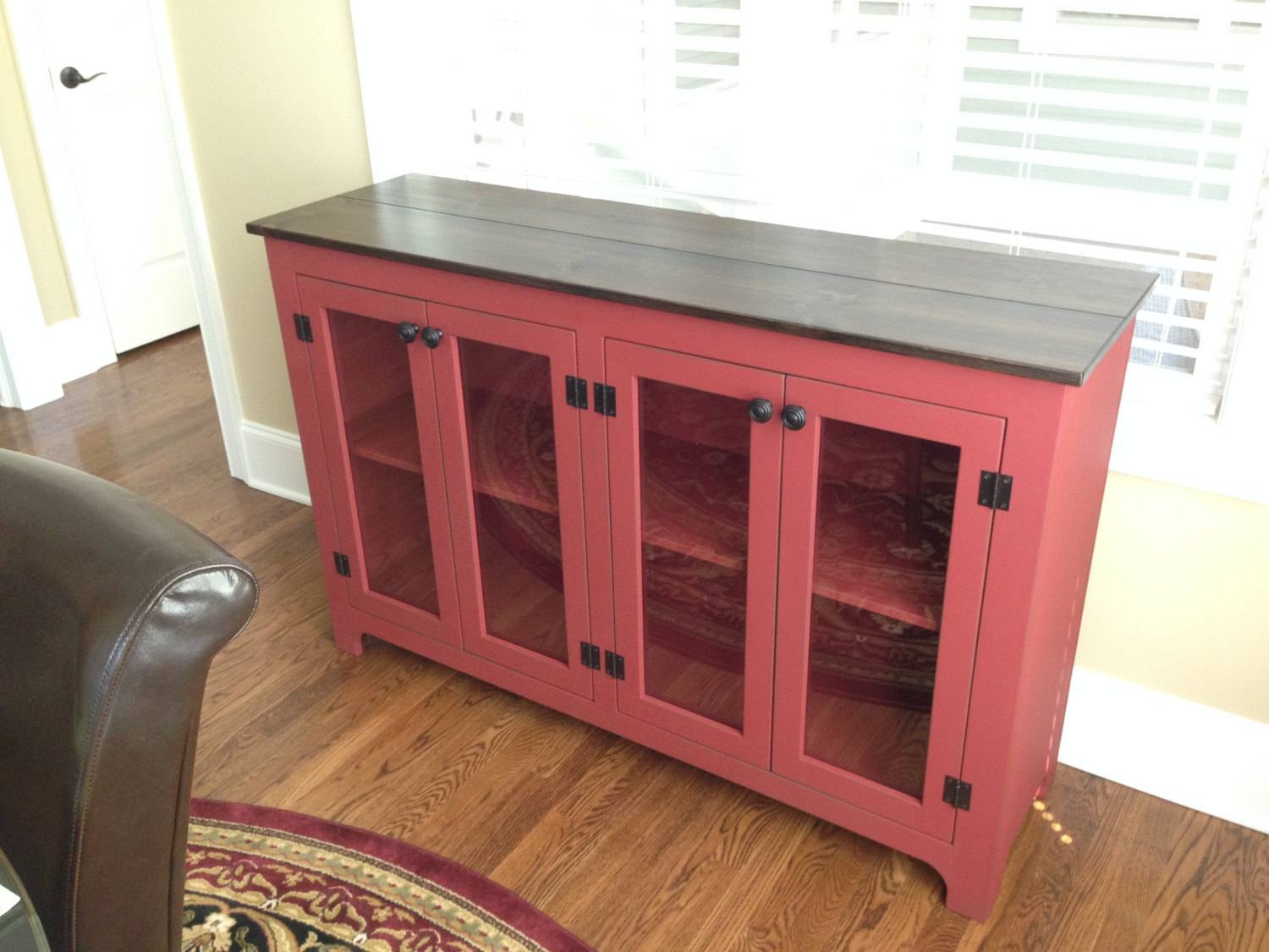 Painted Buffet Red Sideboard Large Buffet Credenza Pertaining To Newest Red Buffet Sideboards (#5 of 15)