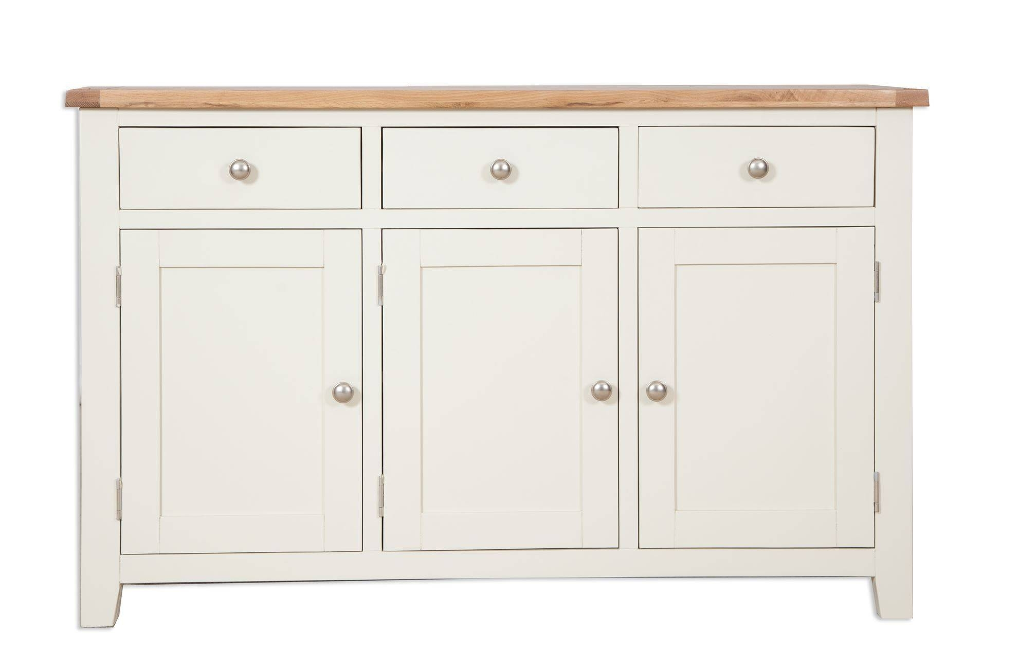 Painted Ivory Three Drawer Sideboard – Cambridge Home & Garden Throughout 2017 Cream Oak Sideboards (View 2 of 15)