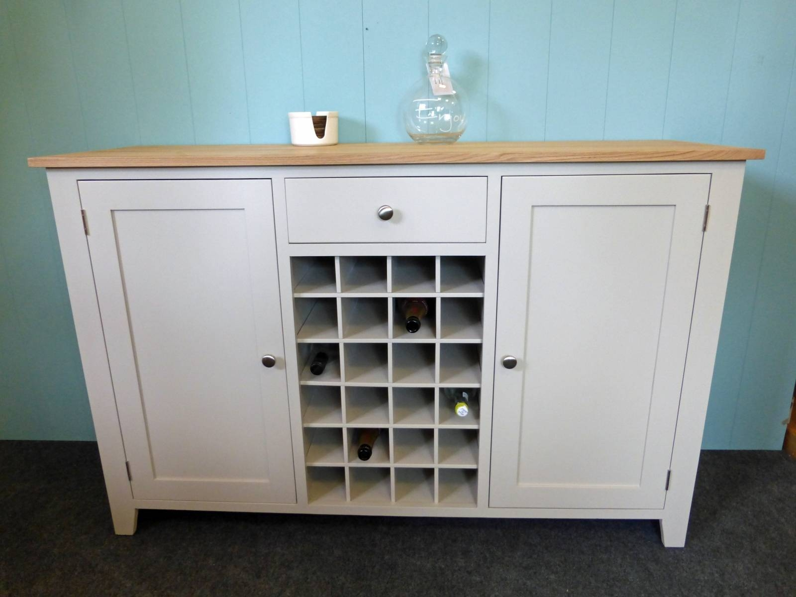 Painted Shaker Style Sideboard With Wine Rack – Solid Wood Intended For 2017 Bespoke Sideboards (#12 of 15)