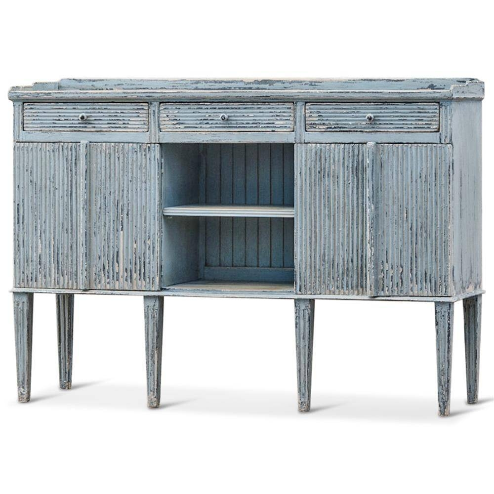 Peitro French Country Weathered Antique Blue Wood Sideboard Buffet Regarding Most Up To Date Blue Buffet Sideboards (#12 of 15)