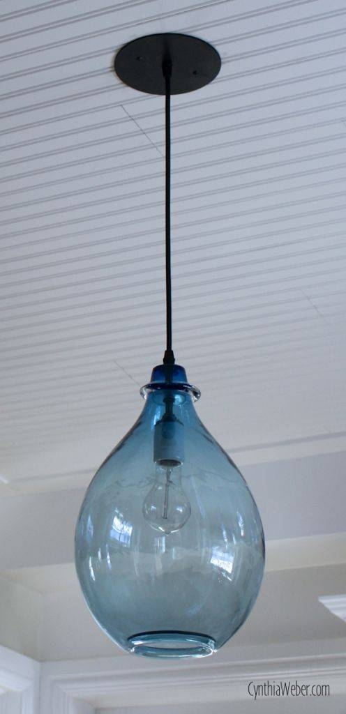Pendant Lighting Ideas: Beautiful 10 Blue Glass Pendant Light Regarding 2017 Blue Glass Pendant Lights (#14 of 15)