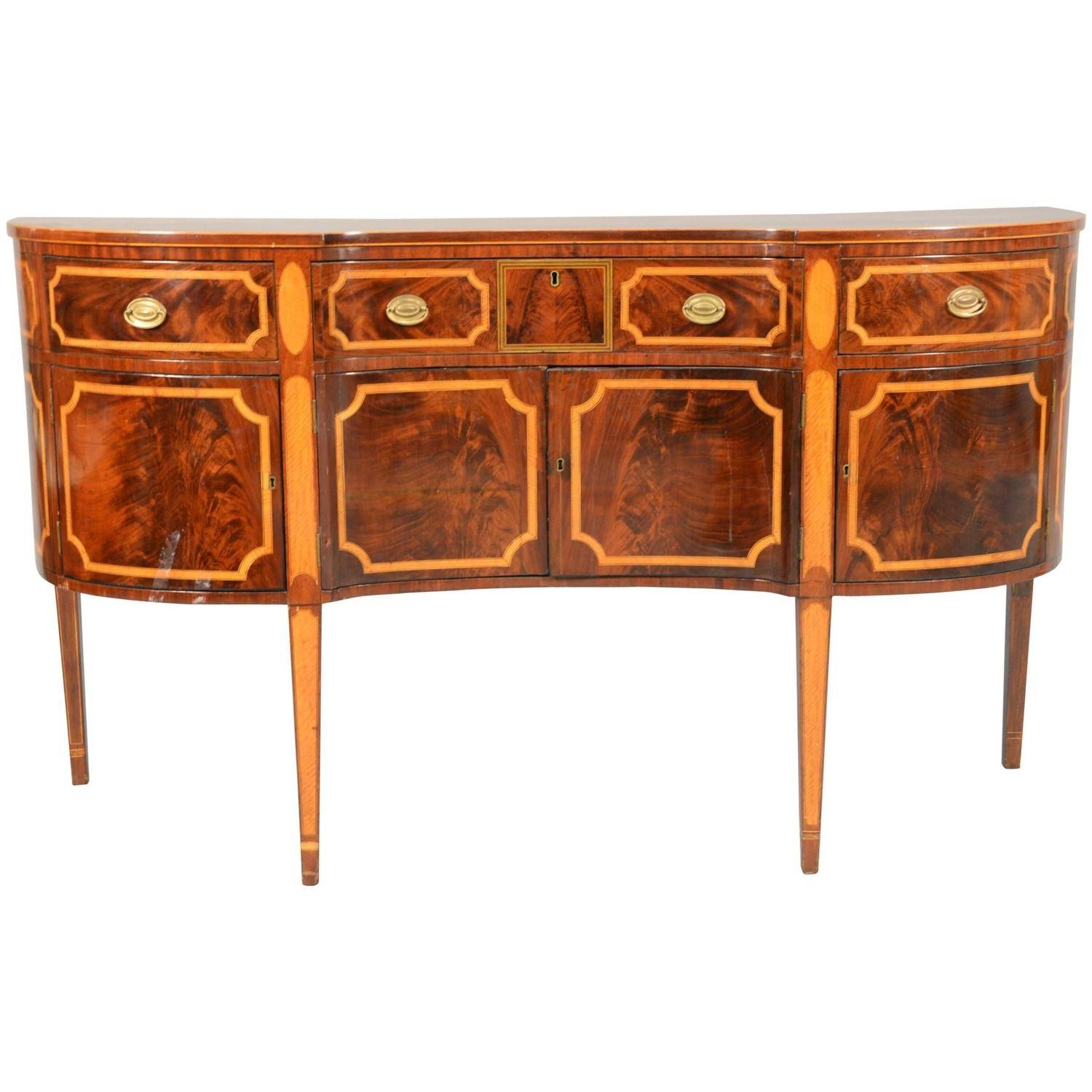 Period American Federal Sideboard In Mahogany With Tiger Maple Within Current Maple Sideboards (View 10 of 15)