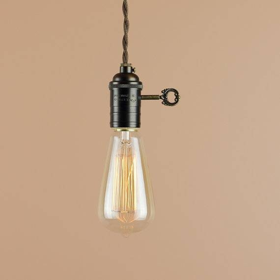 Plug In Pendant Light With Edison Light Bulb 10 Foot Cord Regarding Recent Edison Bulb Pendant Lights (#9 of 15)