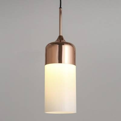 Polished Copper Single Light White Glass Cylinder Mini Pendant With Regard To Recent White Mini Pendant Lights (#12 of 15)