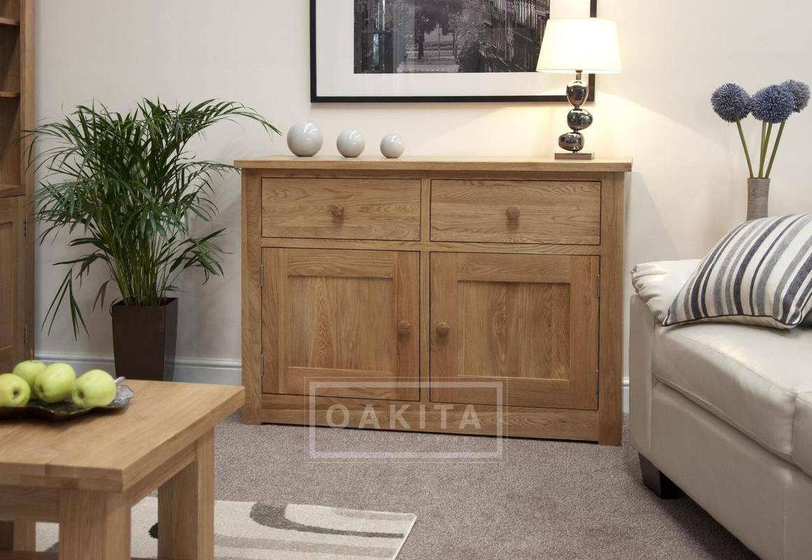 Prague Solid Oak Small Sideboard – Oak Sideboards – Oak Furniture For Current Solid Oak Small Sideboards (View 6 of 15)