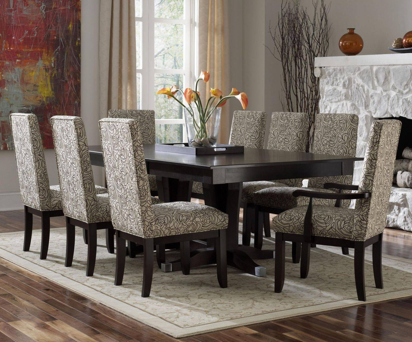 Purple Leather Backrest Chair Stainless Legs Elegant Violet High Inside Most Current Dining Room Sets With Sideboards (#15 of 15)