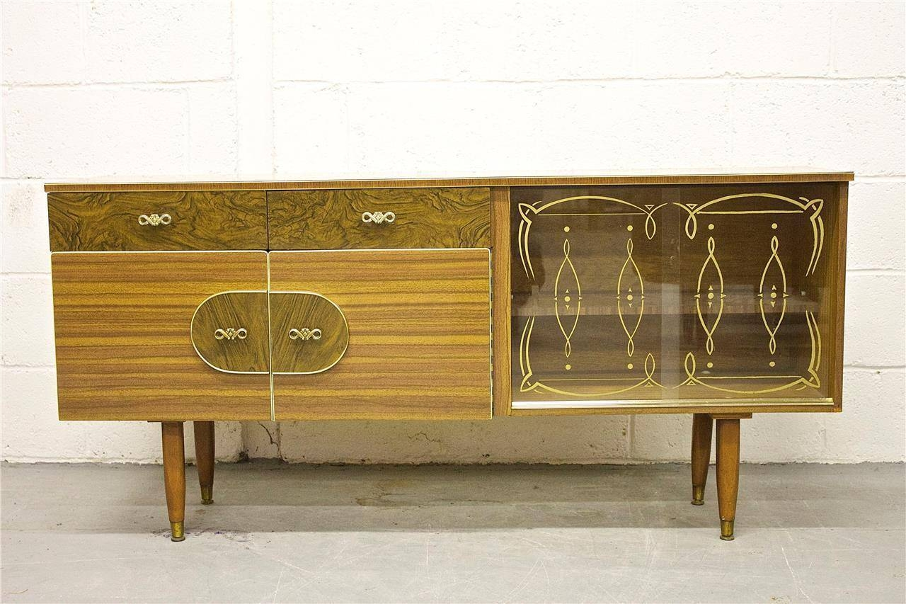 Inspiration about Rare Kitch Retro Teak & Walnut Effect Sideboard With Glass Doors For Current Walnut Effect Sideboards (#10 of 15)