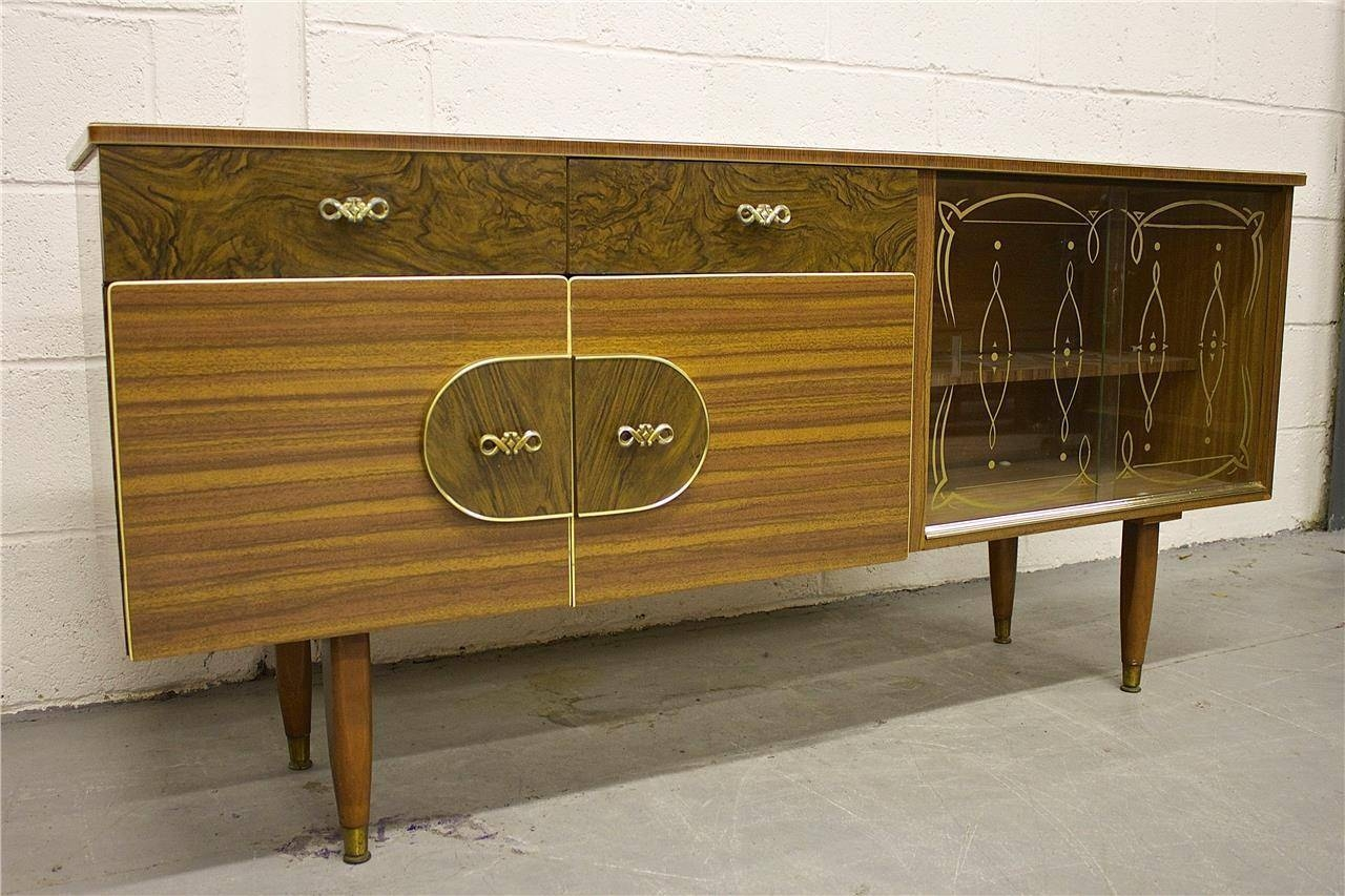 Inspiration about Rare Kitch Retro Teak & Walnut Effect Sideboard With Glass Doors Throughout 2017 Walnut Effect Sideboards (#11 of 15)