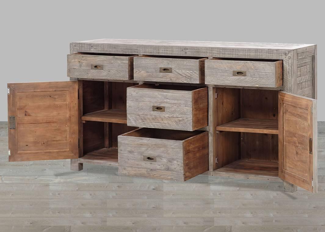 Reclaimed Wood Black Olive 7 Drawer Sideboard In Recent Reclaimed Wood Sideboards (#7 of 15)