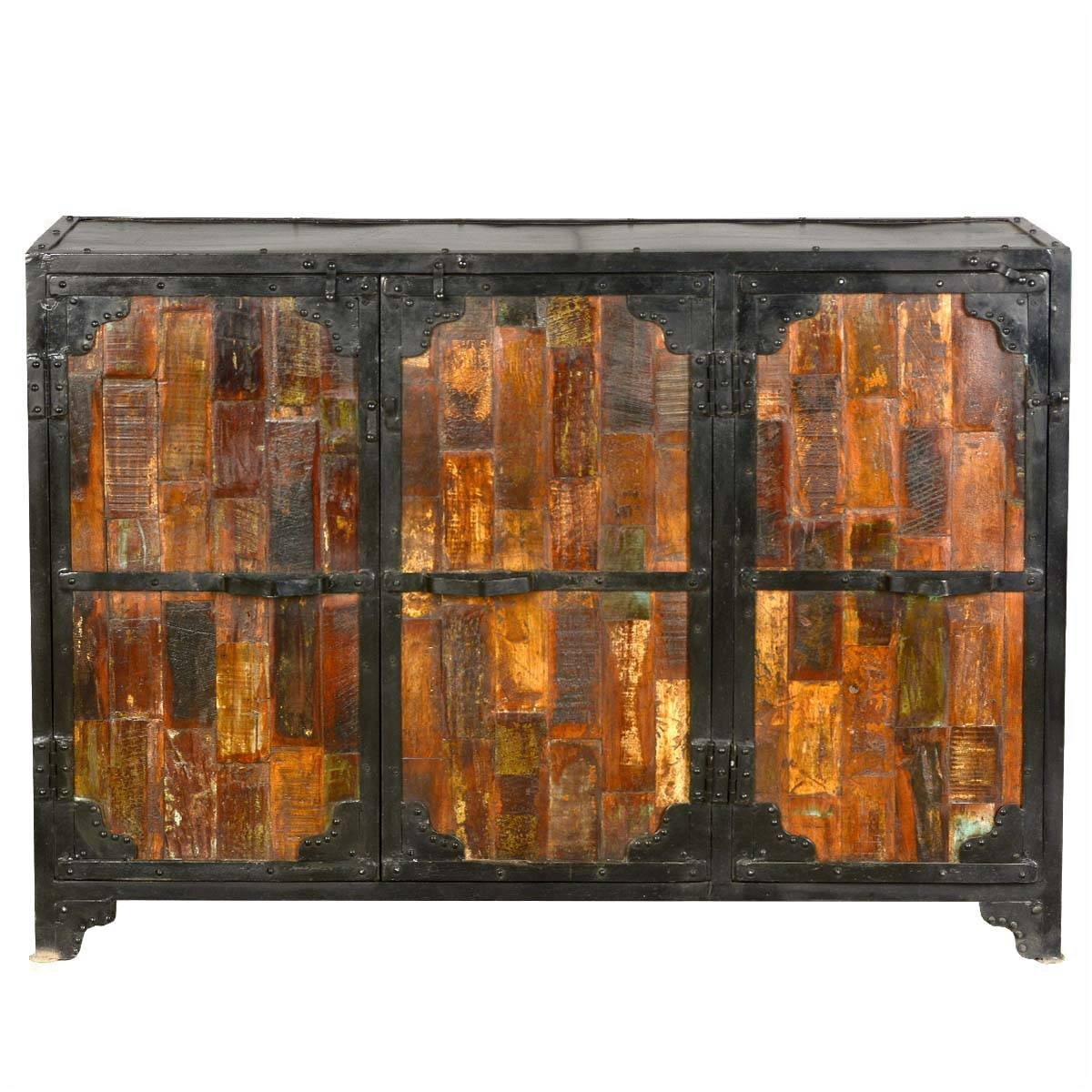 Inspiration about Reclaimed Wood & Iron 3 Door Industrial Buffet Cabinet Inside Newest Reclaimed Wood Sideboards (#15 of 15)