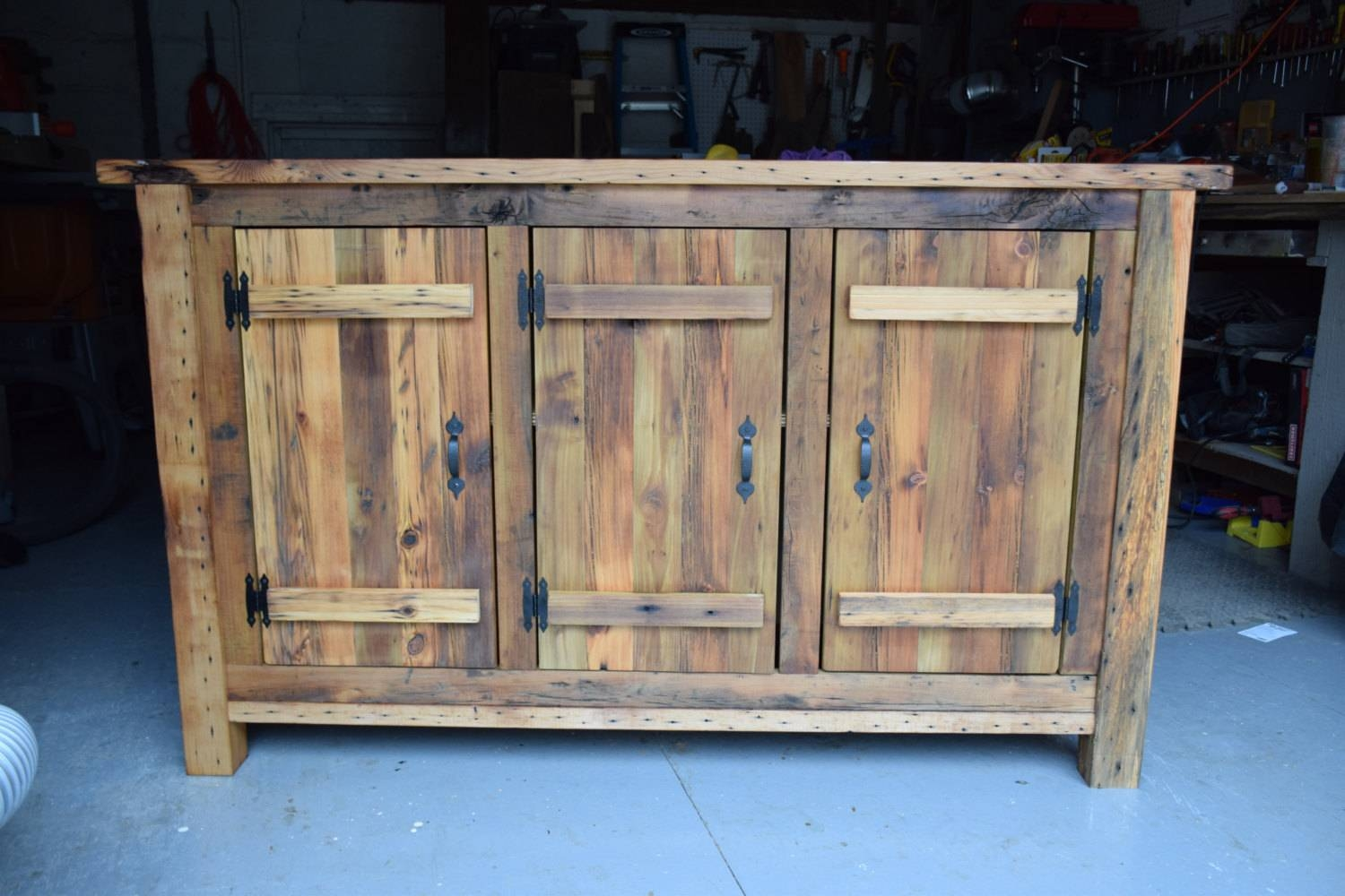 Reclaimed Wood Rustic Buffet Farmhouse Buffet Table Entryway For Latest Reclaimed Wood Sideboards (#9 of 15)
