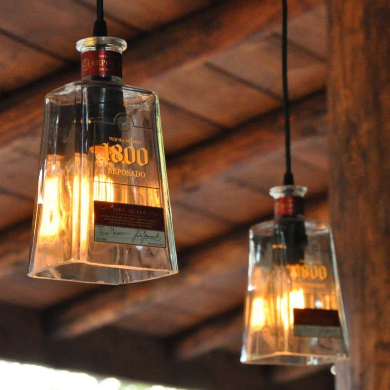 Recycled 1800 Tequila Bottle Pendant Lamps – The Green Head Intended For Best And Newest Recycled Pendant Lights (#12 of 15)