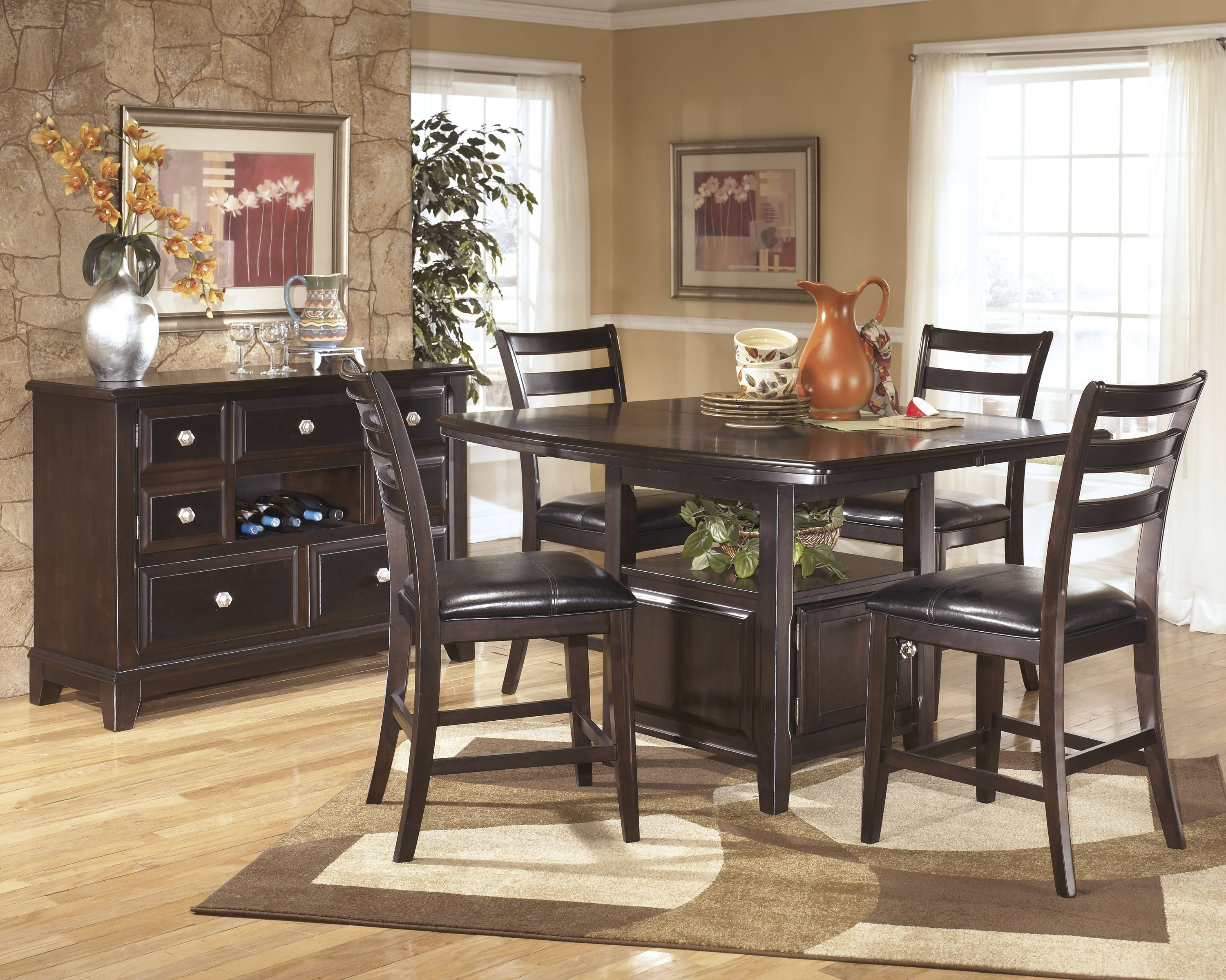 Ridgley Dark Brown 6 Pc Counter Height Dining Table Barstools And In Most Popular Black Dining Room Sideboards (#13 of 15)