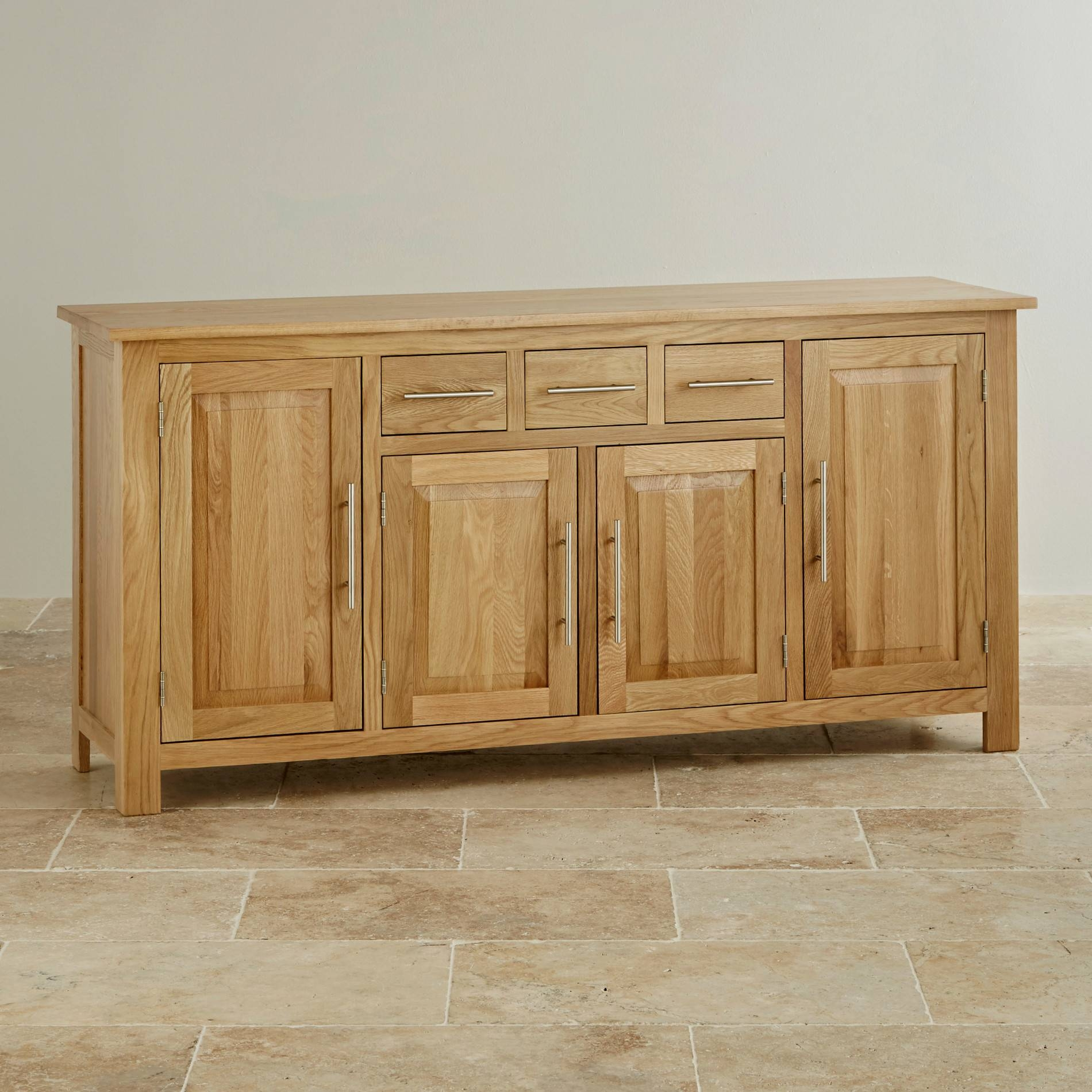 Inspiration about Rivermead Natural Solid Oak Large Sideboard | Oak Furniture Land Throughout Current Oak Furniture Land Sideboards (#4 of 15)