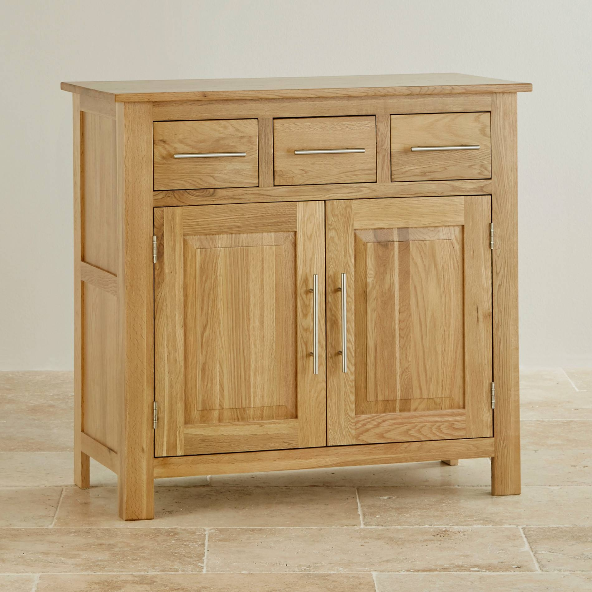 Rivermead Natural Solid Oak Small Sideboard | Oak Furniture Land In Recent Solid Oak Small Sideboards (View 9 of 15)