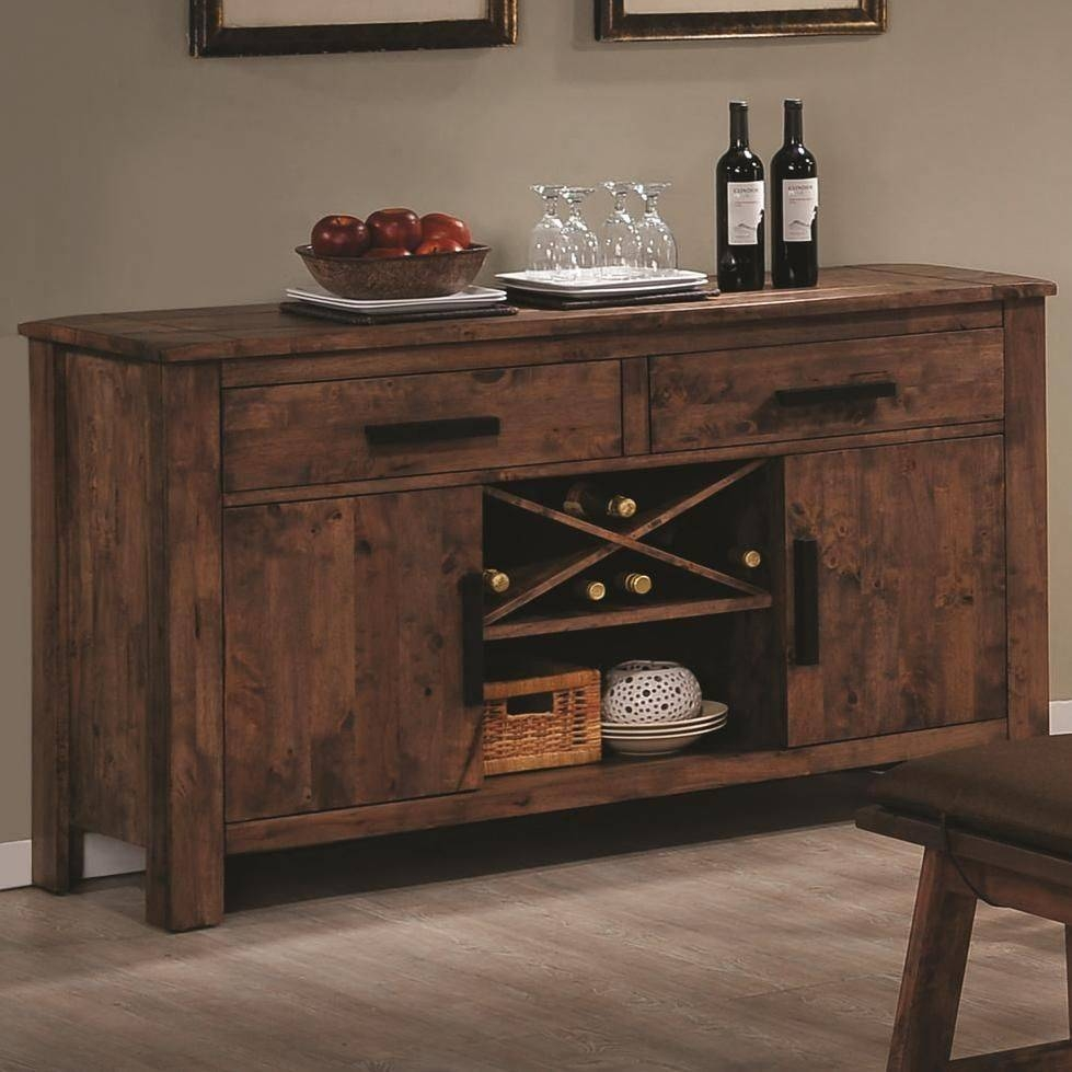 Rustic Indoor Dining Room Design With Maddox Brown Wood Sideboard Inside 2018 Dining Room Sideboards And Buffets (#13 of 15)