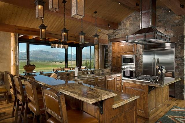 Rustic Kitchen Design With View Due To Large Glass Window For Latest Rustic Pendant Lighting For Kitchen (View 7 of 15)