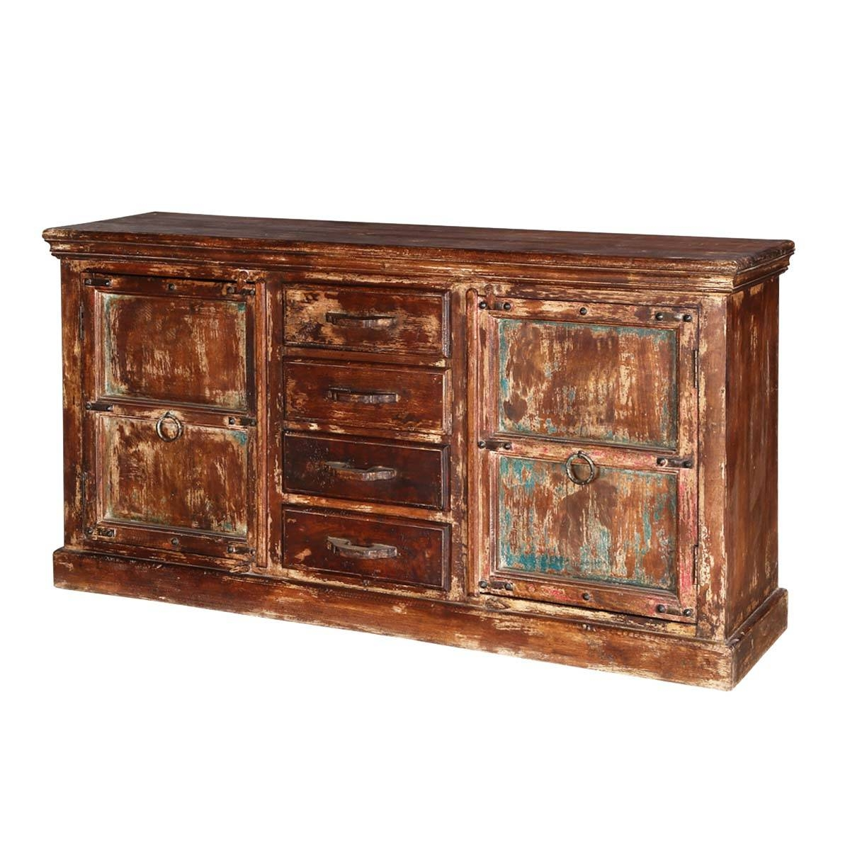 Inspiration about Rustic Reclaimed Wood 2 Door 4 Drawer Accent Sideboard Cabinet Pertaining To Most Popular Reclaimed Wood Sideboards (#14 of 15)